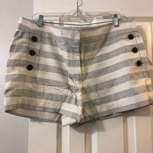 Gray and white striped loft shorts